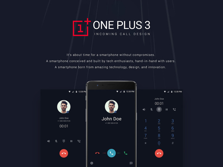 ONEPLUS 3 INCOMING CALL UI DESIGN