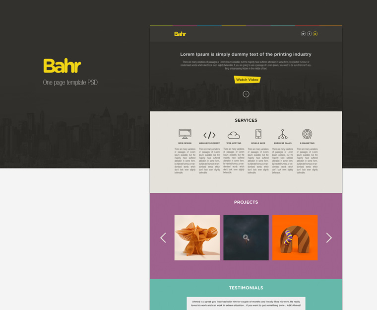 BAHR ONE PAGE PSD TEMPLATE
