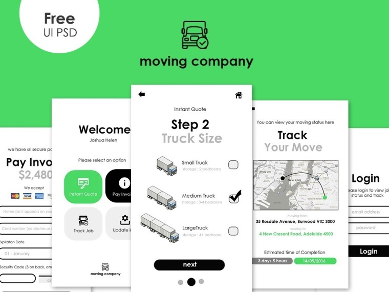 MOVING APP UI TEMPLATE PSD