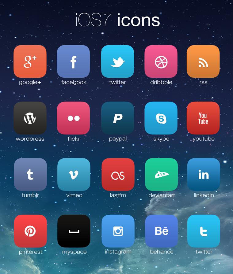 IOS7 SOCIAL ICON SET