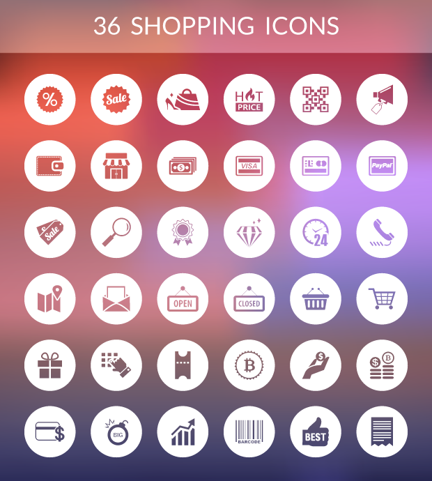 36 SHOPPING ICONS