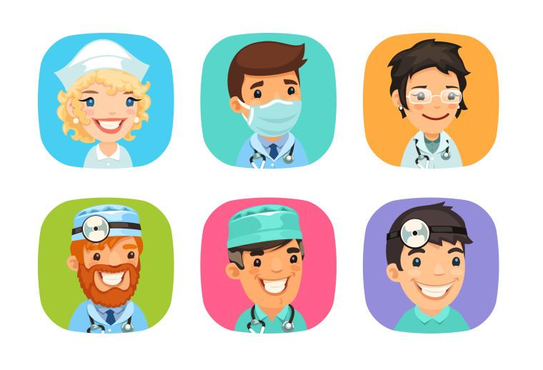 DOCTORS CARTOON CHARACTER ICONS