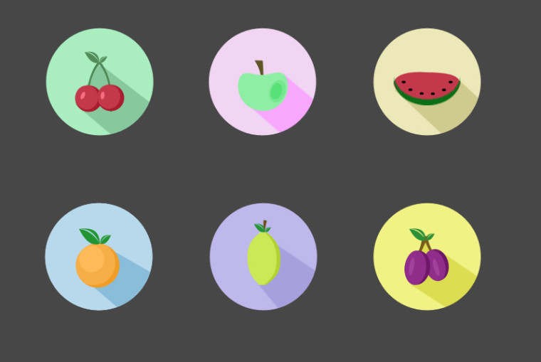 FRUIT FLAT ICONS SET