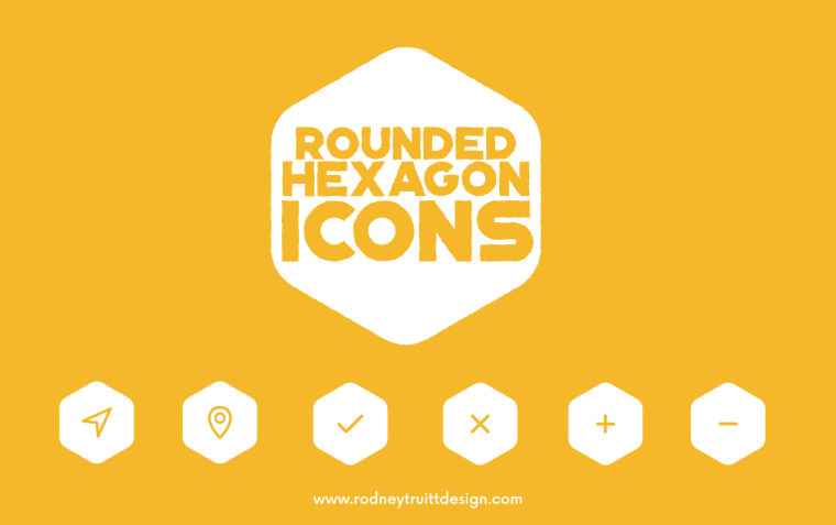 6 FREE ROUNDED HEXAGON ICONS