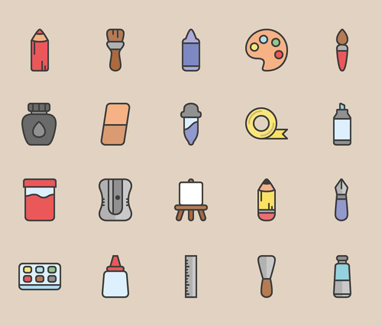 ART TOOLS ICON SET