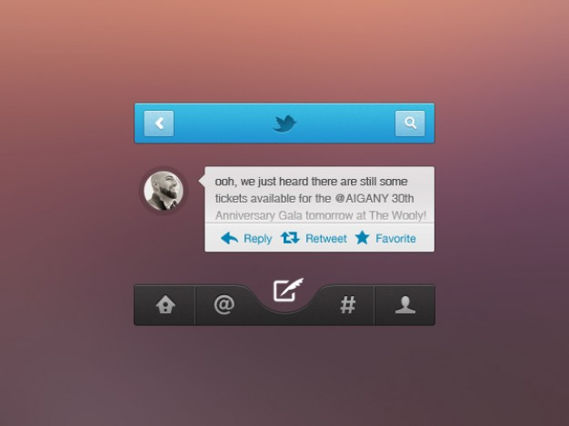 Social Networking UI Elements PSD