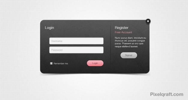 Dark Login Form With Pink Button