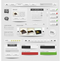 Complete UI Elements In Grey Color
