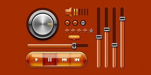 Colorful Music Player Icons For Web Design