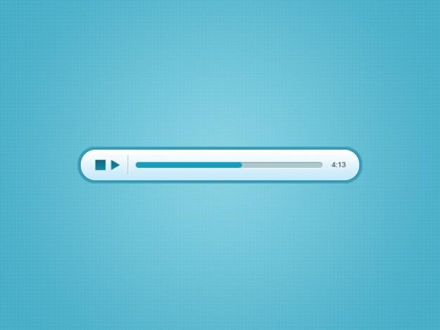 Modern Blue Player With Progress Bar