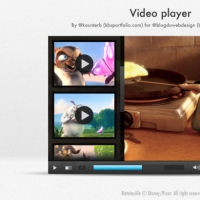 Modern Video Player With Cartoon Animals