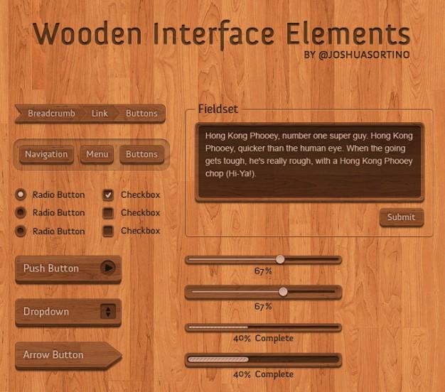 Psd UI Elements Wooden