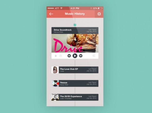 Music App History Screen