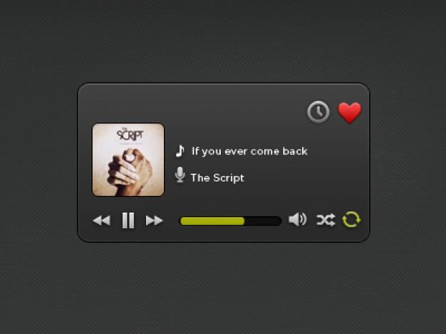 Black Music Player PSD Widget