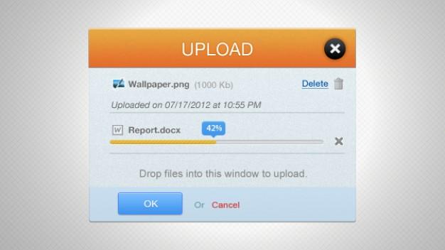 Orange Upload Progress Bar Interface