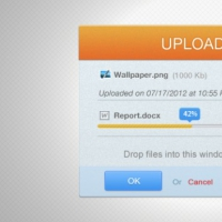 Orange Upload Progress Bar Interface