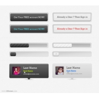 Sign Up Web Elements PSD Material