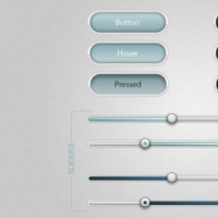 Blue Buttons With Sliders Ui kit