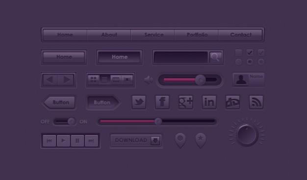 Button Icon Purple UI