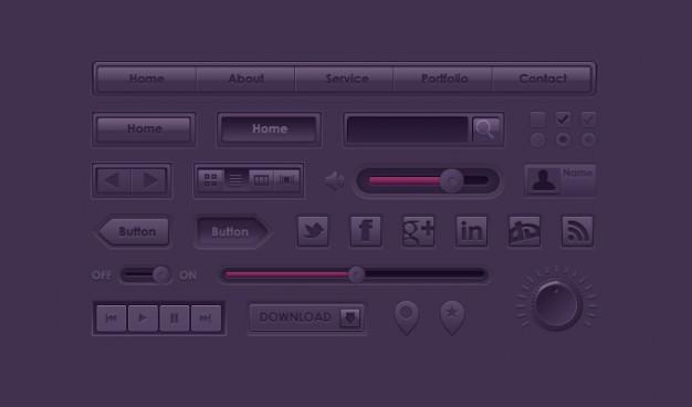 Button Icon Purple UI