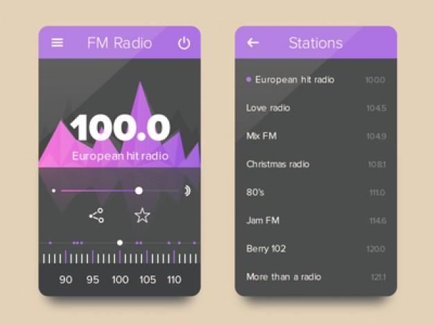 FM Radio Flat UI kit