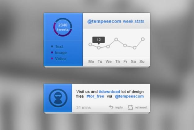Blue UI Kit With Twitter Blocks