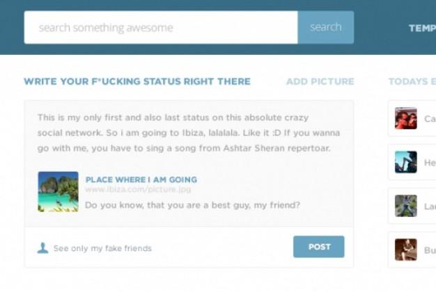 Flat Social Network Header Psd