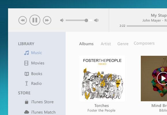 iTunes UI Redesign PSD