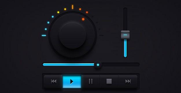 Dark Music Interface Free PSD