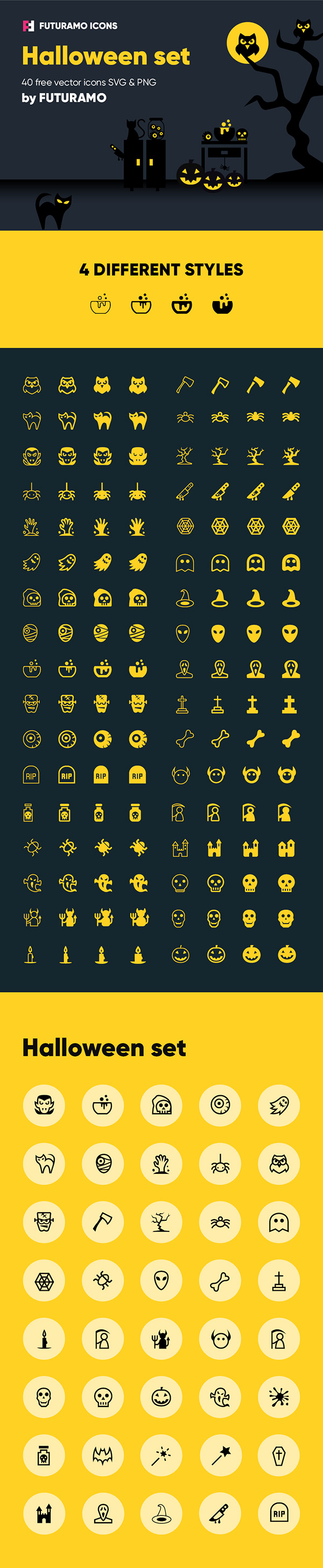Spooky Halloween: 40 Icons, 4 Styles