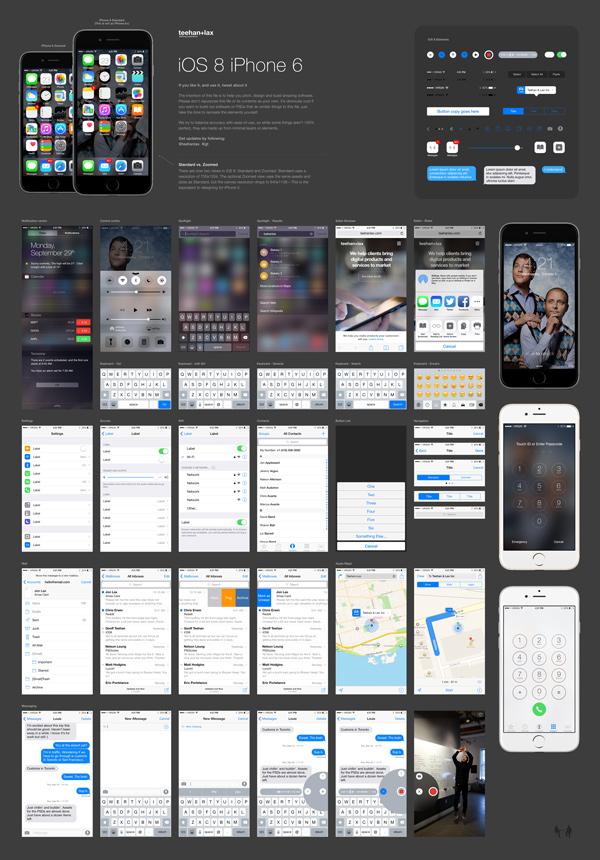 iOS 8 GUI PSD for iPhone 6