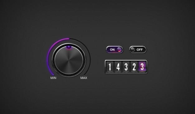 Counter Dark Knob Switches UI