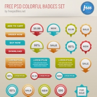 Free PSD Colorful Badges Set