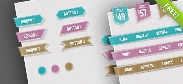Free Web UI Set - Navigations, Buttons, Circles and Ribbons