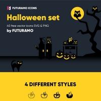 Spooky Halloween: 40 Icons, 4 Styles