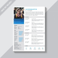 White Template With Blue And Grey Details