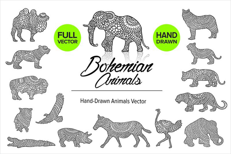 HAND DRAWN BOHEMIAN ANIMALS