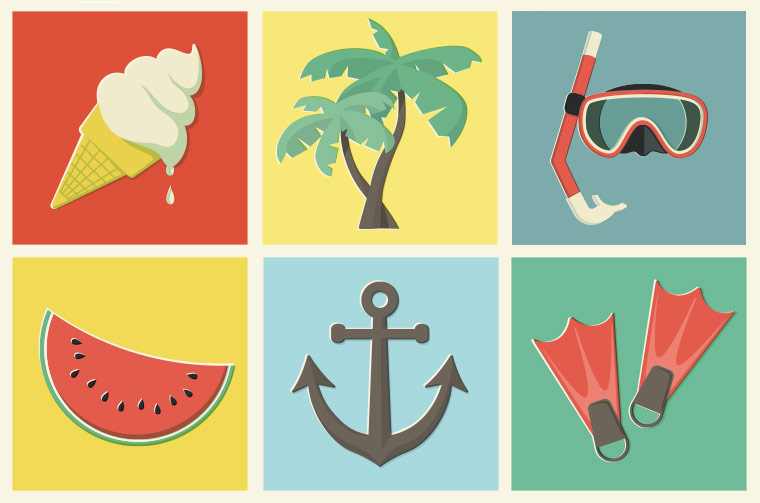 6 FREE COLOURFUL SUMMER ILLUSTRATIONS