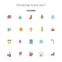 Christmas Color And Outline Icons Vol.1