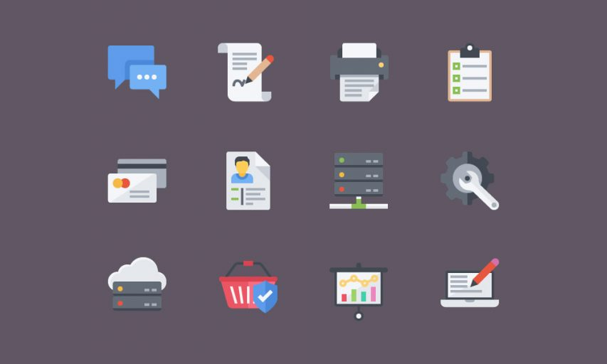 Corporate Flat Icon Set Free PSD