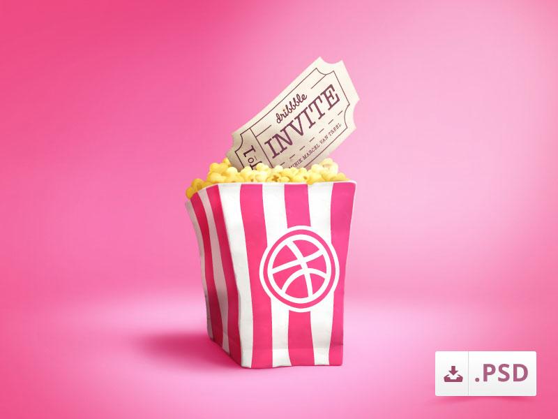 Pink Popcorn Bag Icon PSD Freebie