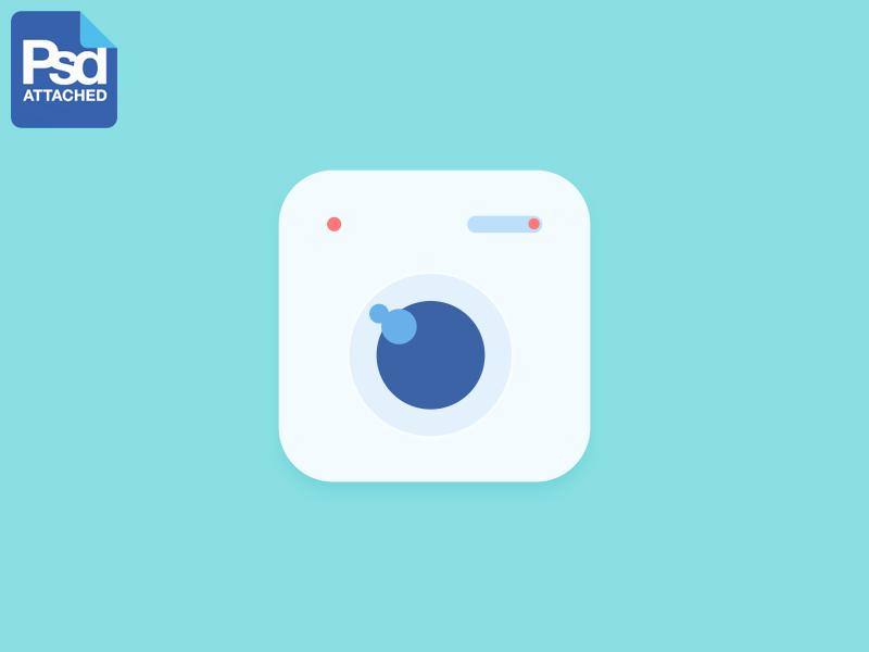 Camera App Flat Icon PSD