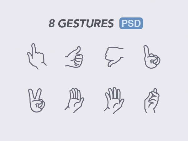 Hand Gestures Free PSD Icons
