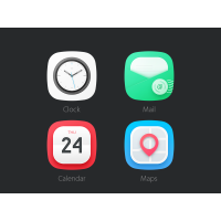 Flat Rounded Mobile App Icons PSD
