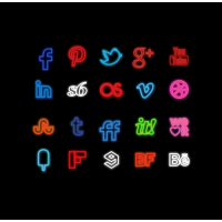 Colorful Neon Social Icons Set PSD