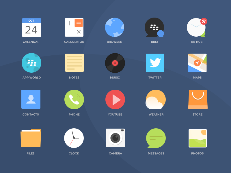 Blackberry Colorful Icons Free PSD