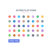 High Quality Colorful Flat Icons PSD