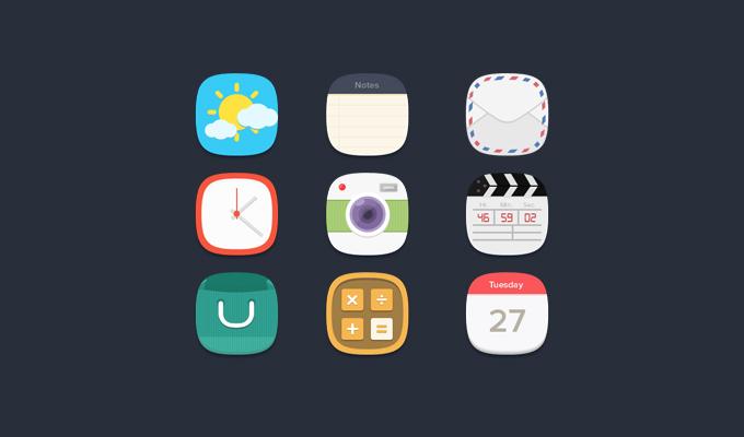 Flat Rounded iOS Icons Set PSD