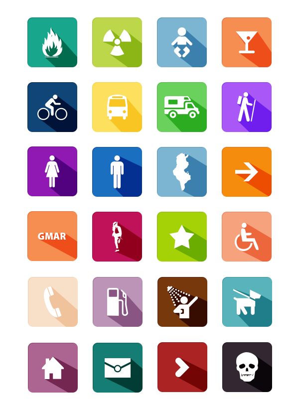 Long Shadow Colorful Flat Icons Set PSD