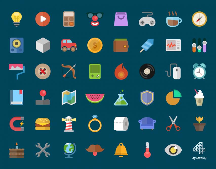 Creative Cartoon Style Flat Icons PSD Set